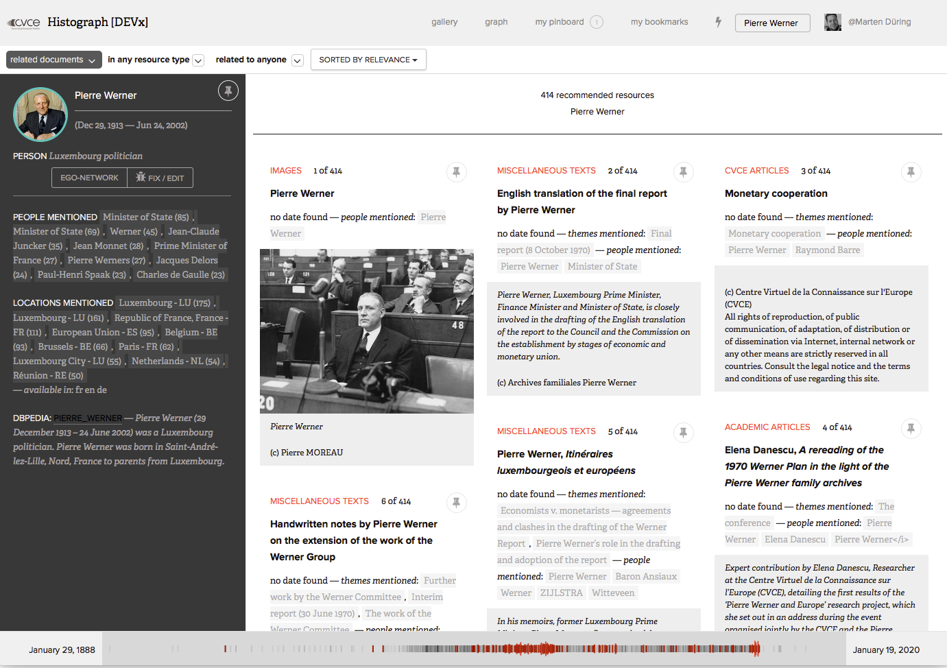 "Figure 2: A search for ""Pierre Werner"" reveals a short biographical overview with a list of frequently co-occurring entities (left column) and a gallery view of related documents which can be filtered e.g. by resource type and time"