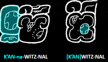 Fig. 1 Infixation of the highlighted logogram K'AN (shown on left, infixed as a circle on the right)