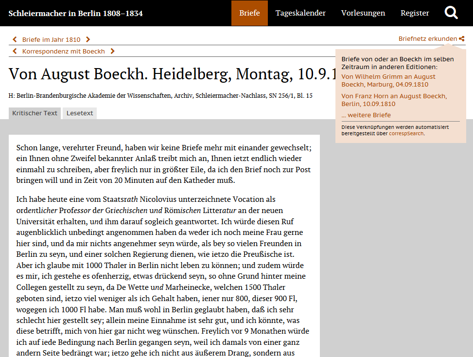 "Fig 2: Screenshot of the digital scholarly edition ""Schleiermacher in Berlin 1808-1834"" (published soon), which presents letters to and from the theologian Friedrich Schleiermacher"